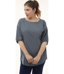 blusa para mujer con textura  y  elástico en puños azul 14