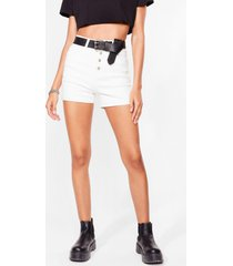 womens i'm a cool mom high-waisted denim shorts - white