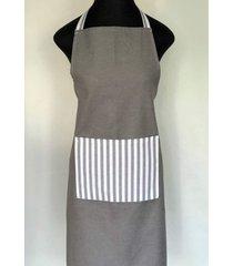 avental de cozinha listras cinza 100% algodã£o jaquarde - importado de portugal - cinza - dafiti