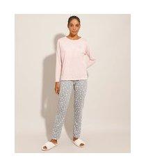pijama mulher maravilha com estampa de estrelas manga longa rosa