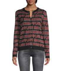 love moschino women's lettered logo cardigan - black red - size 40 (6)
