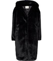 carli faux fur coat outerwear faux fur svart by malina
