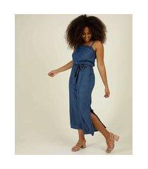 macacão feminino jeans pantacourt fendas
