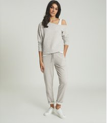 reiss poppy - off-the-shoulder loungewear sweatshirt in grey marl, womens, size l