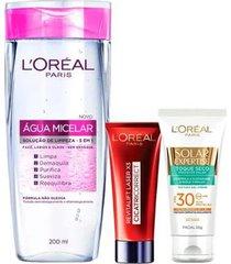 kit l'oréal paris - água micelar + antirrugas + protetor solar kit