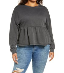 plus size women's bp. babydoll crop sweatshirt, size 3x - black
