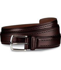 men's allen edmonds manistee brogued leather belt, size 36 - oxblood