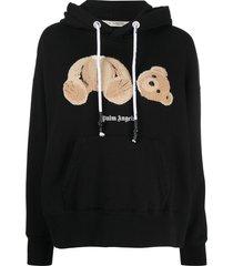 palm angels headless teddy bear appliqué hoodie - black