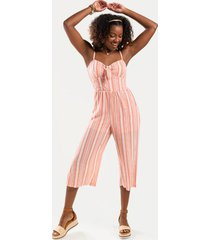 chloe striped front knot jumpsuit - pink