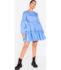 womens what brings you tier relaxed mini dress - blue