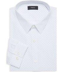 theory men's chevron-print dress shirt - frost - size 15.5 l