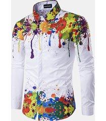 camicia slim fit stampa fantasia