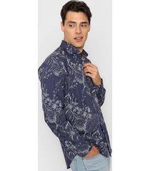 camisa azul new astor florida slim fit