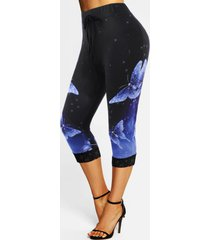 lace insert butterfly print galaxy bowknot capri leggings