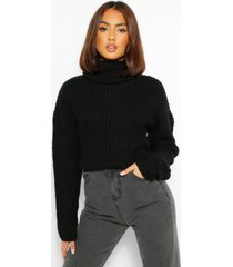 cropped roll neck sweater, black