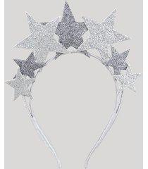 tiara feminina carnaval estrelas com glitter prateada