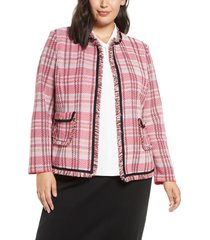 plus size women's ming wang one-button jacquard knit jacket