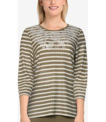 alfred dunner women's missy san antonio casual ribbed striped embroidered top