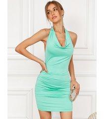 mini vestido sin mangas con pliegues drapeados y diseño sin espalda yoins