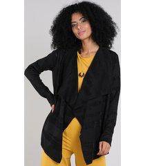 capa feminina assimétrica listrada em tricô com lurex preta