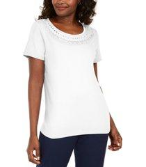 karen scott cotton crochet-trim t-shirt, created for macy's