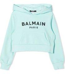 balmain celeste-blue cotton hoodie