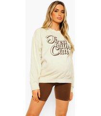 zwangerschap gebleekte tired mum club sweater, ecru