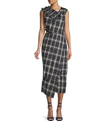crinkle plaid asymmetrical dress