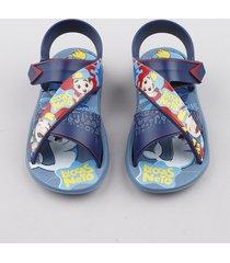 sandália papete infantil grendene lucas neto com tiras azul
