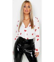 plus woven heart print shirt, white