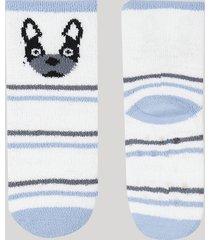 kit de 2 meias de inverno infantil em chenille cano médio cachorro com antiderrapante multicor