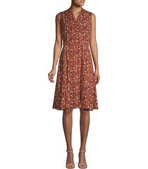 pintucked floral belted knee-length dress
