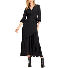 bar iii jacquard printed wrap maxi dress, created for macy's