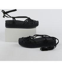 sandália feminina beira rio flatform preta