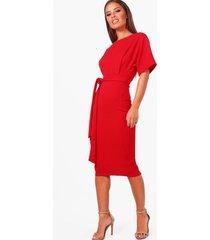 petite nette midi jurk met ceintuur, rood