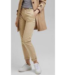 pantalón chino elástico beige esprit