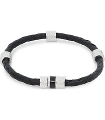 link up silvertone & leather barrel bracelet