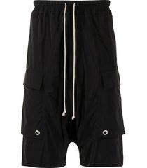 rick owens cargo pods drop-crotch shorts - black