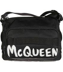 alexander mcqueen logo print shoulder bag