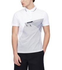 ax armani exchange men's regular-fit abstract logo-print pique polo shirt