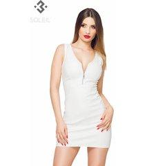 soleil by xxx collection witte leren getailleerde jurk
