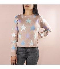 buzo con estrellas color nude para dama cosmos 100294