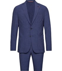 washable seersucker slim suit pak blauw tommy hilfiger tailored