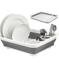 escorredor de pratos casambiente dobrável silicone 10 pratos unica