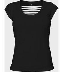 damska koszulka back cut (bez nadruku, gładka) - czarna