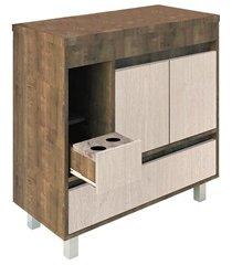 gabinete para banheiro com pés sem cuba nikko 84x81cm wengue e rovere
