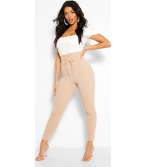 waist shaping lace up front crepe legging, stone