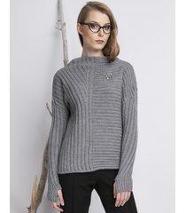 sweter szary z otworem na kciuk