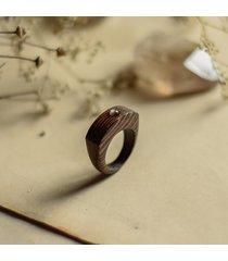 pierścionek wenge ze srebrzystym obsydianem