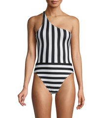 norma kamali women's spliced one-shoulder mio one-piece swimsuit - black stripe - size m